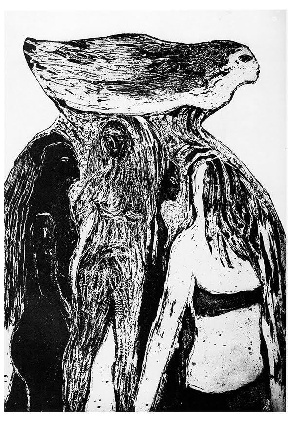 Image: Bird-Woman II, 1983, Noella Hjorth, etching